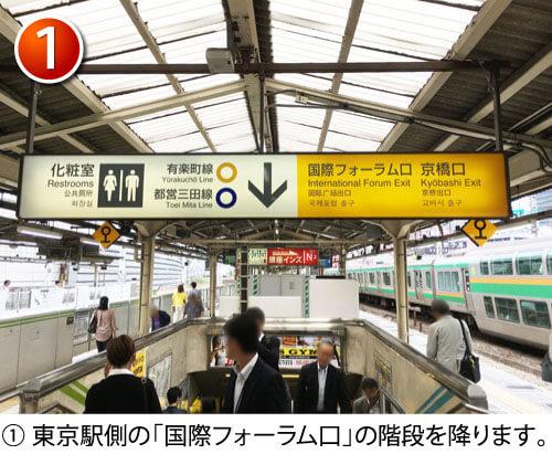 東京駅側の「国際フォーラム口」の階段を降ります。